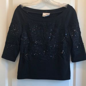 Evening top with sequins